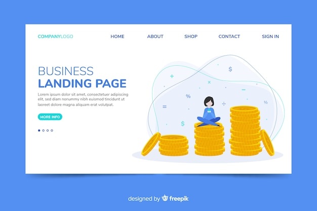 Corporative landing page web template with saving money theme Free Vector