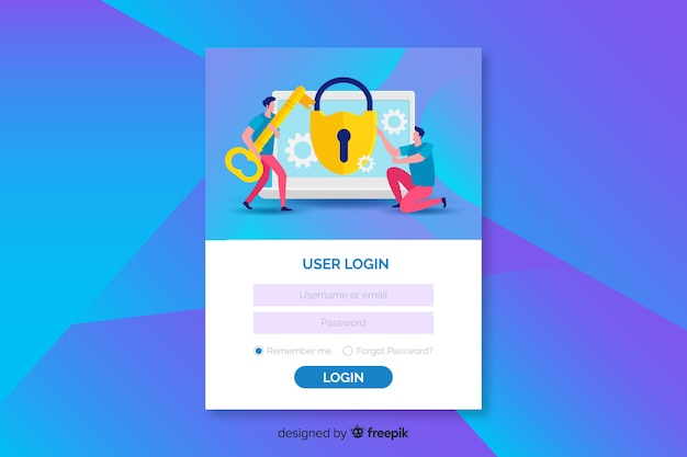 Corporative log in landing page design Free Vector