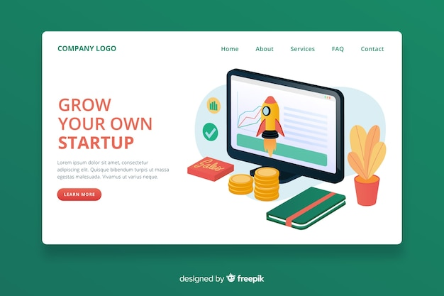 Corporative start up landing page Free Vector