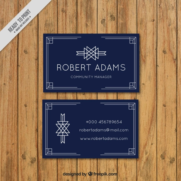 Corproative card with art deco elements Free Vector