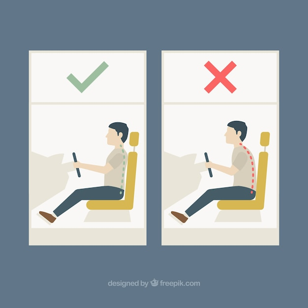 Correct and incorrect posture for\ driving