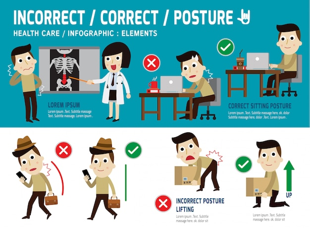 Correct and incorrect posture infographic element, sitting, lifting, walk, health care concept Premium Vector