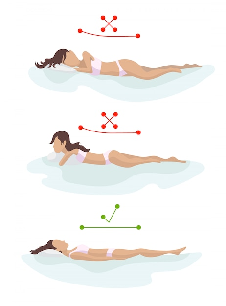Correct and incorrect sleeping body posture. position spine in various mattresses. orthopedic mattress and pillow. Premium Vector