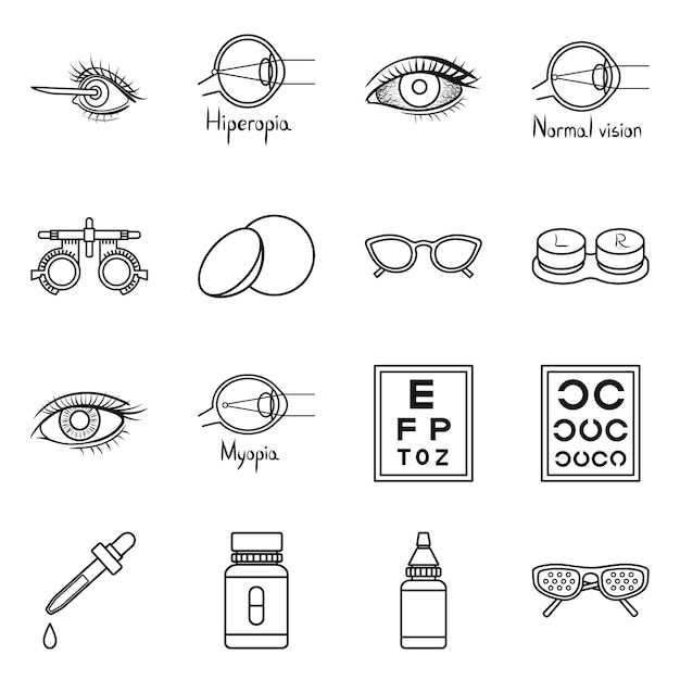 Correction of vision  outline icon set. isolated illustration ophthalmology and correction of vision .icon set of diagnostic eye. Premium Vector