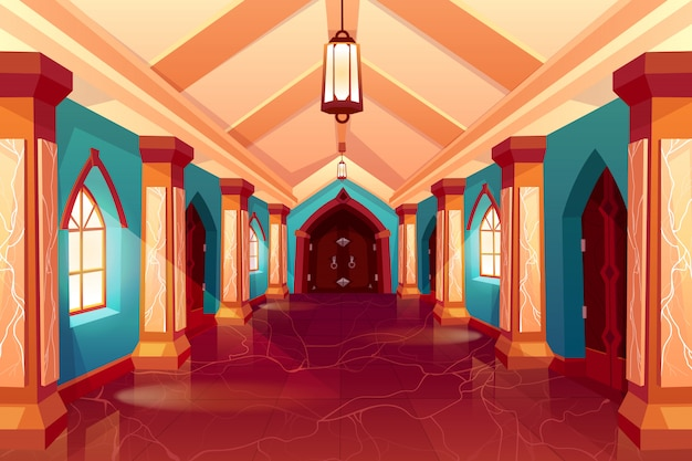Corridor of castle or historical hotel Free Vector