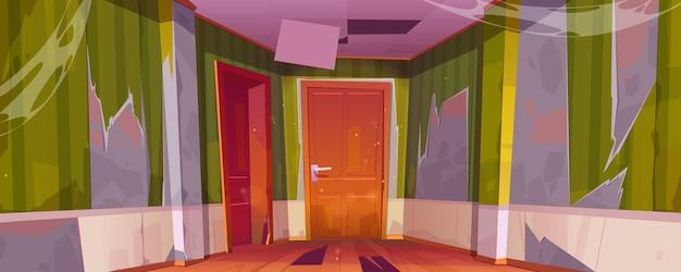 방에 닫힌 문, 깨진 바닥 및 천장이있는 오래된 버려진 집의 복도 내부 무료 벡터