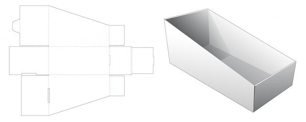 段ボールの傾斜収納ボックスダイカットテンプレート Premiumベクター