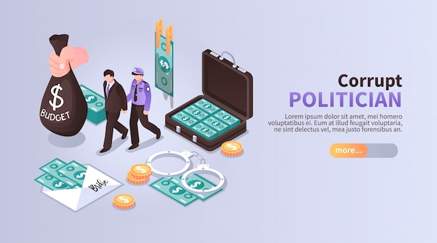 Corrupt politician horizontal banner with set of isometric icons illustrated laundering of budget money with following arrest Free Vector