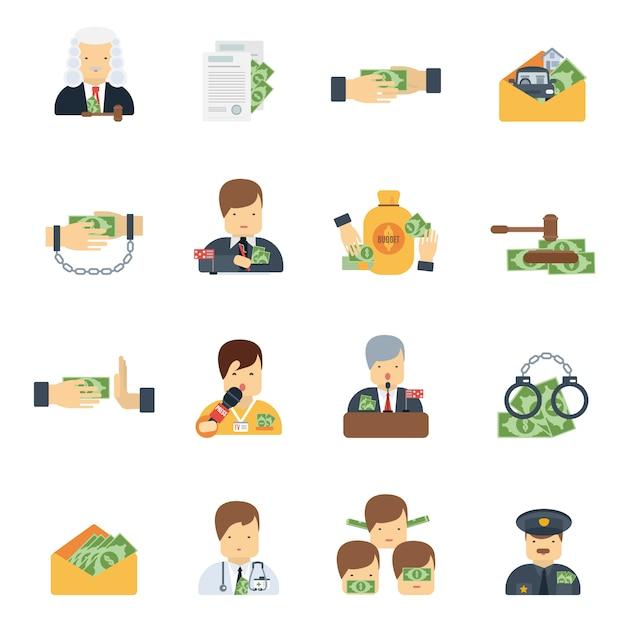Коррупция иконки плоские Бесплатные векторы
