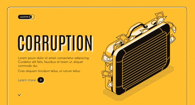 Corruption isometric web banner with suitcase full of criminal money line art illustration. Free Vector