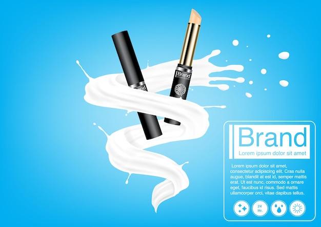 化粧品の広告のコンセプト。ミルクスプラッシュの豪華なコンシーラーモックアップ。広告デザインテンプレート Premiumベクター