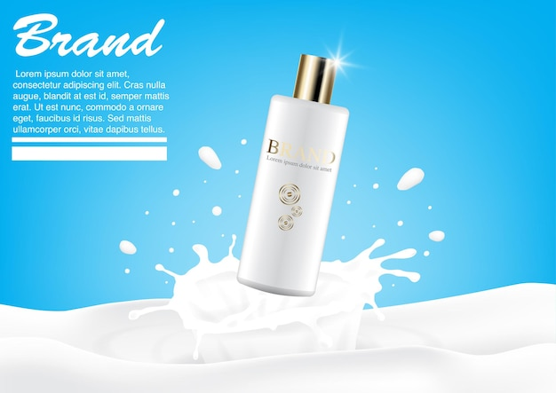 Cosmetic ad milk splash concept. luxury lotion mockup. advertising design template Premium Vector