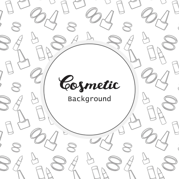 Cosmetic background pattern flat lineart icons vector Premium Vector