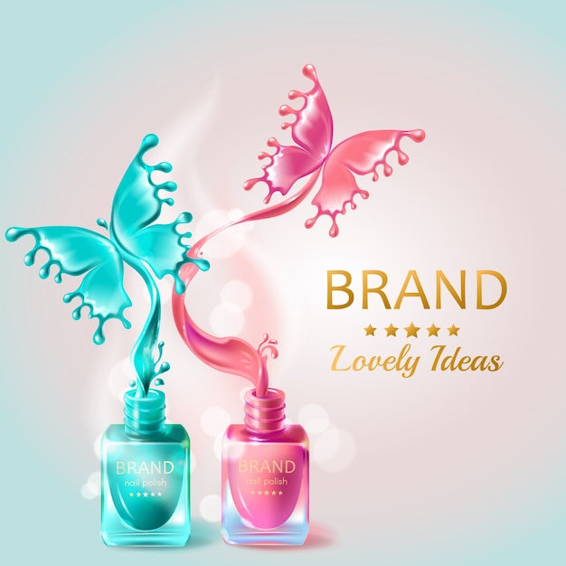 Nails Art Beauty Salon Background Stock Vector: Cosmetic Background With Butterflies From Nail Polish