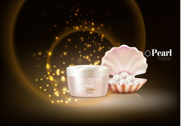 Cosmetic background with pearl Free Vector