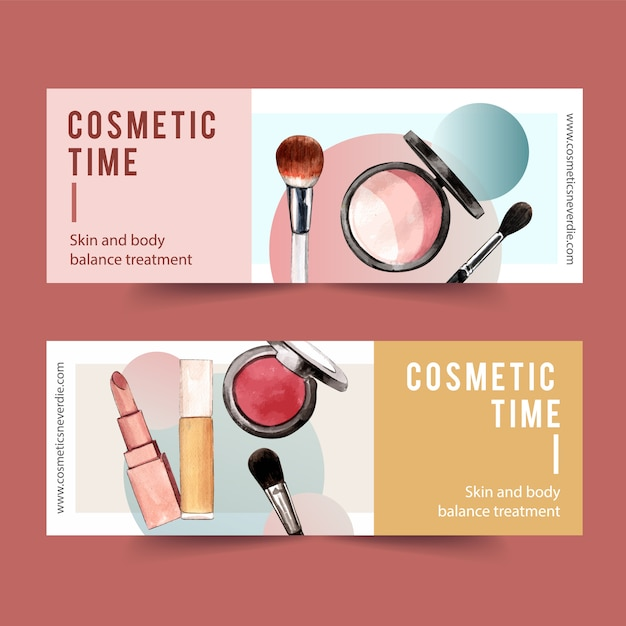 Cosmetic banner design with highlighter, brush on, lipstick Free Vector