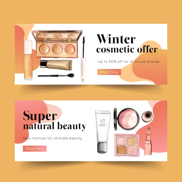 Freepik Cosmetic Banner Design With Highlighter Mascara Brush Vector For Free