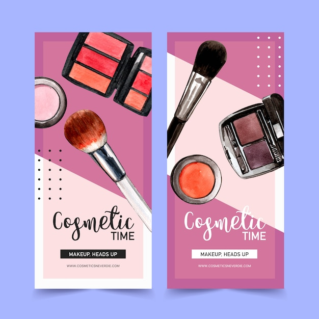Cosmetic banner with brush on, eyebrow palette Free Vector