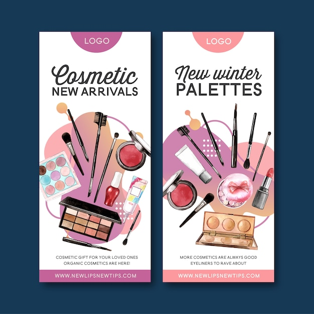 Cosmetic banner with highlighter, lip tint, eyeshadow Free Vector