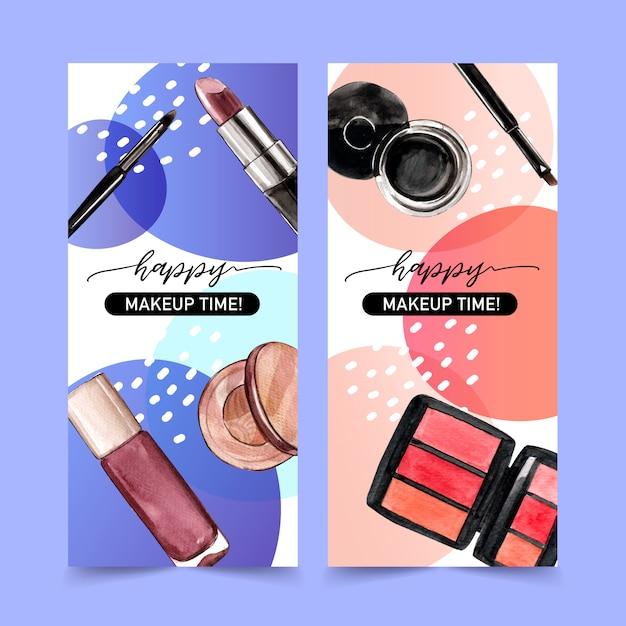 Striscione cosmetico con rossetto, eyeliner, ombretto Vettore gratuito