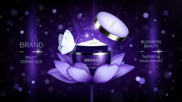 Косметический баннер с реалистичной фиолетовой открытой баночкой для крема по уходу за кожей на лотосе Бесплатные векторы