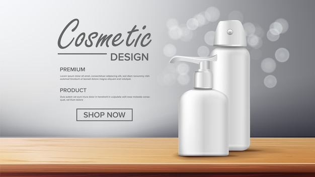 Cosmetic bottle advertising banner template Premium Vector