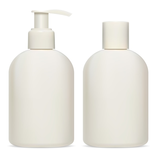 Пакет косметической бутылки. бланк упаковки крема, лосьона, шампуня. пластиковый шаблон емкости для геля для душа или мыла. емкость-дозатор для увлажняющего бальзама. реалистичный объект Premium векторы