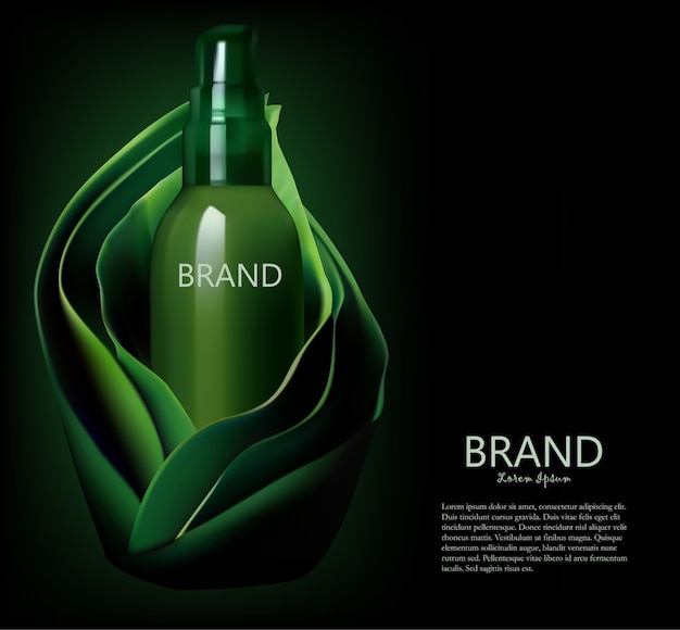 Cosmetic bottle,  package  in a green leaves background template Premium Vector