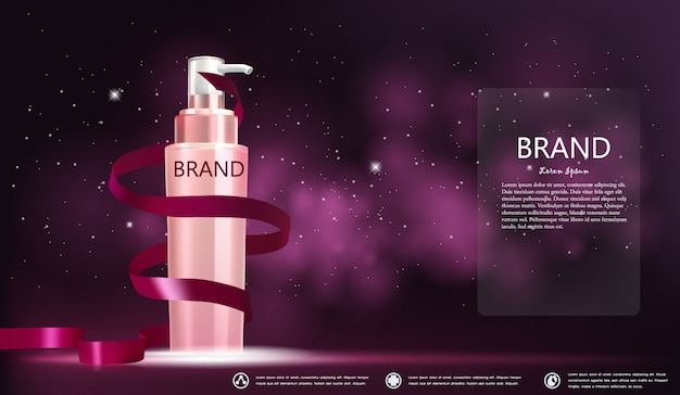 Cosmetic bottle package  in a pink galaxy banner Premium Vector