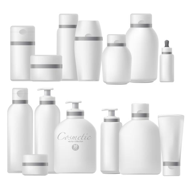 Cosmetic bottle realistic mock up set. Premium Vector