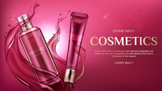 Freepik Cosmetic Bottles Advertising Beauty Skin Care Product Banner Vector For Free