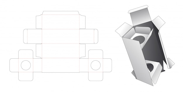 Cosmetic box with 2 insert supporters die cut template Premium Vector