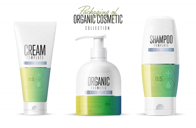 Cosmetic brand template, realistic bottle set, Premium Vector