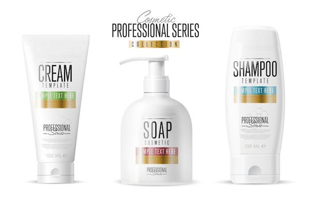 Cosmetic brand template, realistic bottle set, Premium Vector