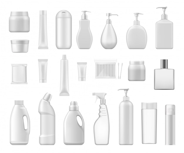 Cosmetic containers and chemical plastic bottles Premium Vector