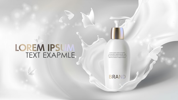 Cosmetic cream realistic banner Free Vector