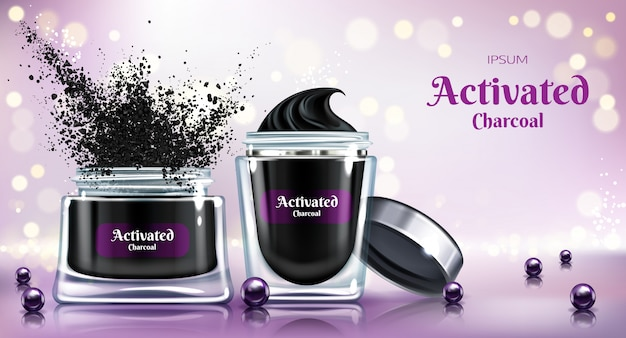 Cosmetic detox powder, skincare cream or face mask with activated charcoal 3d realistic vector advertising banner Free Vector