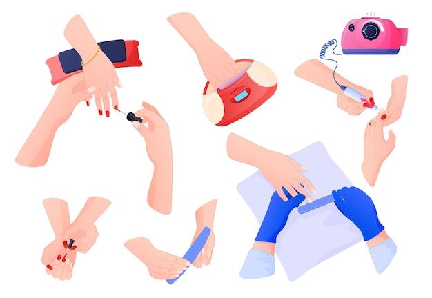 化粧品、セルフケア。さまざまなポーズの手がマニキュアを行い、マニキュア、ネイルファイルを適用します。 Premiumベクター