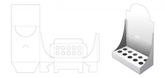 Cosmetic display box die cut template Premium Vector