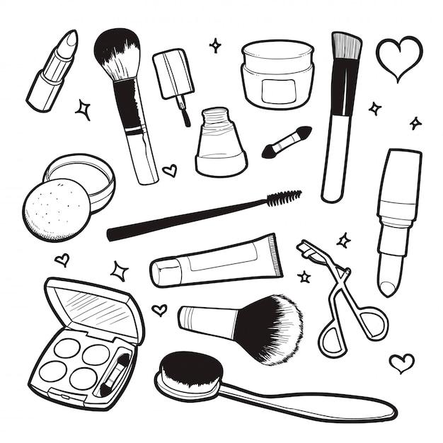 Cosmetic doodle vector illustration Premium Vector