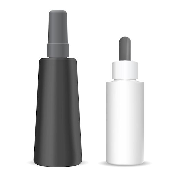 Косметический флакон-капельница. изолированная упаковка флакона с каплей сыворотки. бутылка-пипетка-флакон для жидкого эфирного масла. роскошный пластиковый пакет с пипеткой. шаблон продукта для ароматерапии Premium векторы