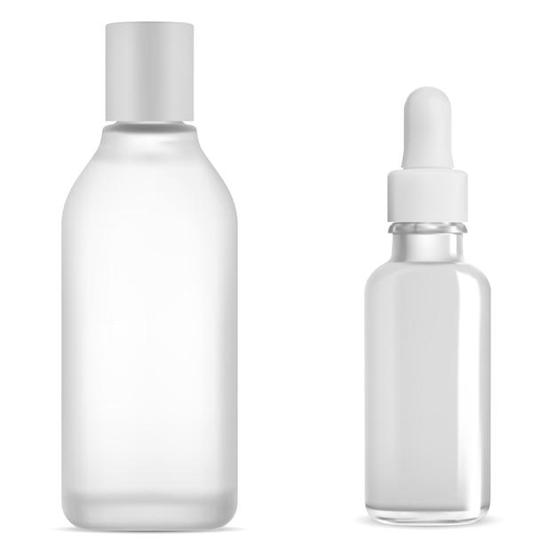 Косметическая бутылка капельницы белое стекло, сыворотка и тоник водный продукт, изолированные на белом фоне. флакон с каплями масла, прозрачная колба с тоником. емкость для мицеллярной воды. коллаген кожи Premium векторы