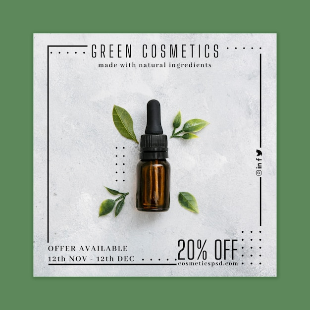 Cosmetic flyer square Free Vector