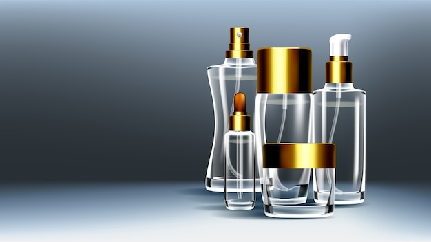 Cosmetic glass packaging Premium Vector