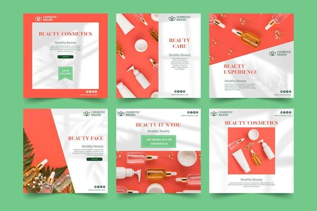 化粧品のinstagramの投稿テンプレート 無料ベクター