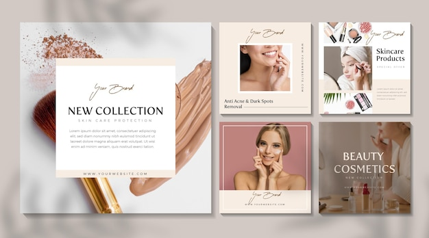 Cosmetic instagram posts Free Vector