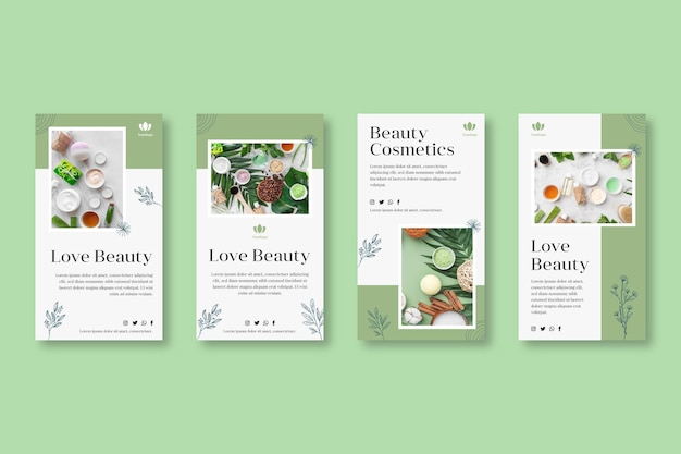Cosmetic instagram stories collection Free Vector