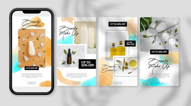 Косметические истории instagram продукты и масла Premium векторы