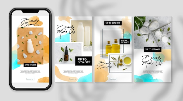 Cosmetic instagram stories products and oils Free Vector