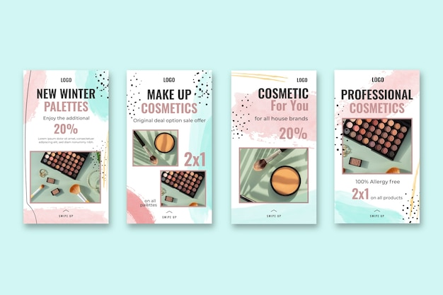 Cosmetic instagram stories template Free Vector